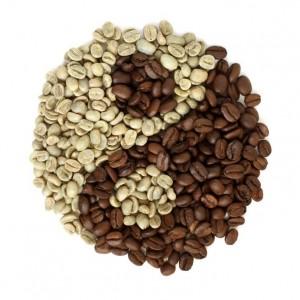 Seid kreativ: Kaffee Körner Bohnen bilden hier ein Yin-Yang-Symbol.